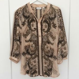 New York & Company see through patten Blouse